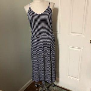 Gap striped navy white maxi dress
